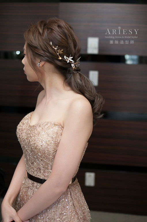 文定造型,低馬尾造型,蓬鬆編髮,新娘造型,新娘髮型,台北新祕
