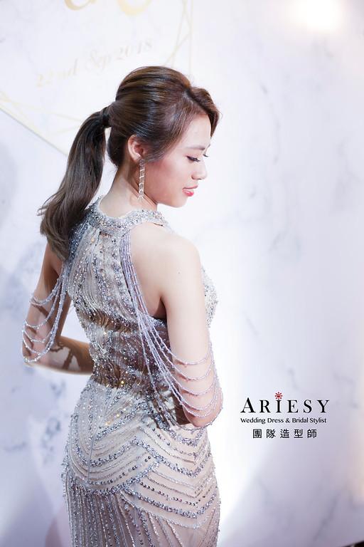 送客造型,蓬鬆編髮造型,俐落中馬尾造型,新娘造型,台北新祕