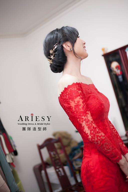 文定造型,復古造型,新娘髮型,新娘造型,紅色禮服,新祕,黑髮新娘造型