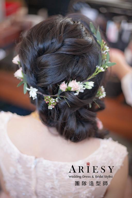 敬酒造型,花藝編髮造型,新娘祕書,新娘造型,黑髮新娘造型,新祕