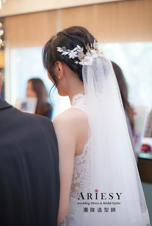 白紗造型,編髮造型,進場新娘髮型,新娘造型,迎娶造型,黑髮新娘造型