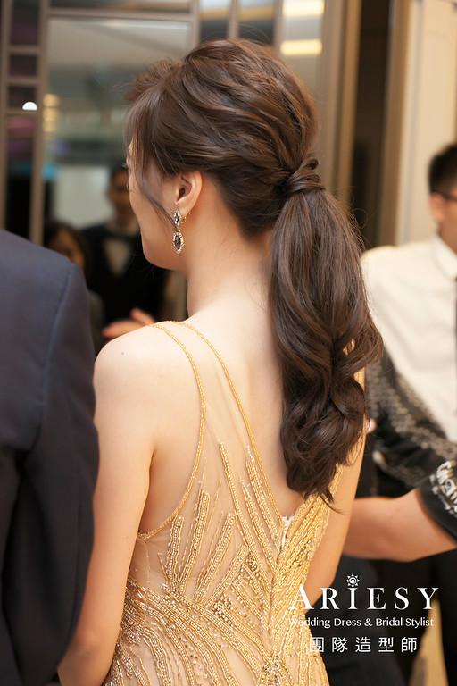 敬酒造型,新娘造型,歐美風低馬尾,新娘髮型,晚禮服造型,維多麗亞酒店婚宴