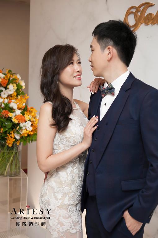送客髮型,新娘髮型,歐美風新娘造型,簡單蓬鬆線條,維多麗亞酒店婚宴