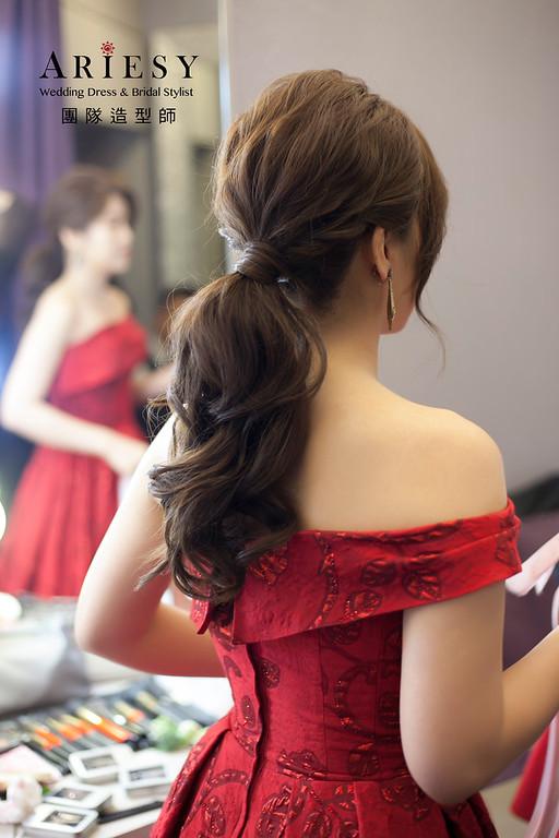 敬酒造型,編髮新娘造型,自然妝感,新娘髮型,紅色禮服造型,低馬尾造型