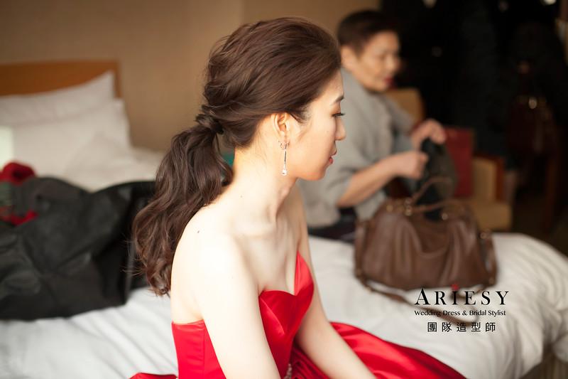 敬酒造型,台北新祕,送客髮型,蓬鬆編髮,低馬尾造型