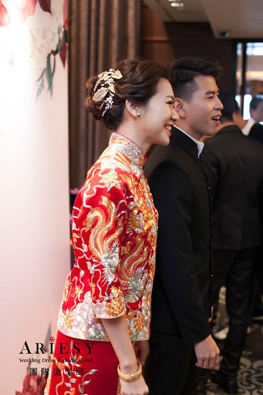 台北新祕,送客造型,新娘造型,龍鳳卦造型,蓬鬆編髮