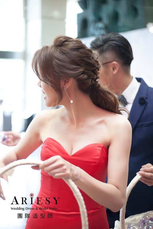 敬酒造型,編髮馬尾造型,新娘祕書,新娘造型,徐州路二號婚宴,紅色禮服造型