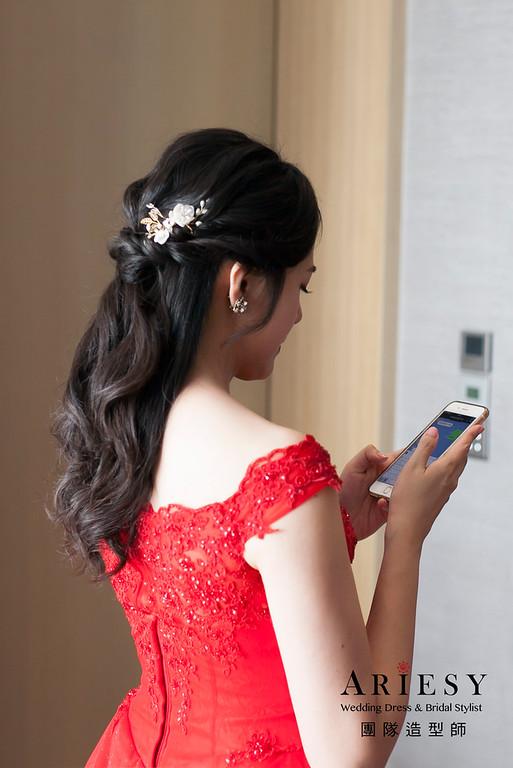 敬酒造型,蓬鬆編髮新娘造型,送客髮型,黑髮新娘造型,晚禮服造型,寒舍艾美婚宴