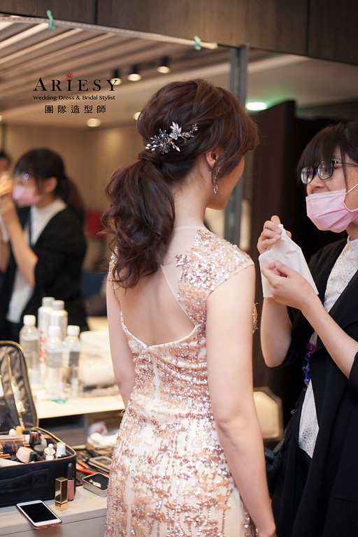 敬酒造型,編髮新娘造型,自然妝感,新娘髮型,晚禮服造型,晶華酒店