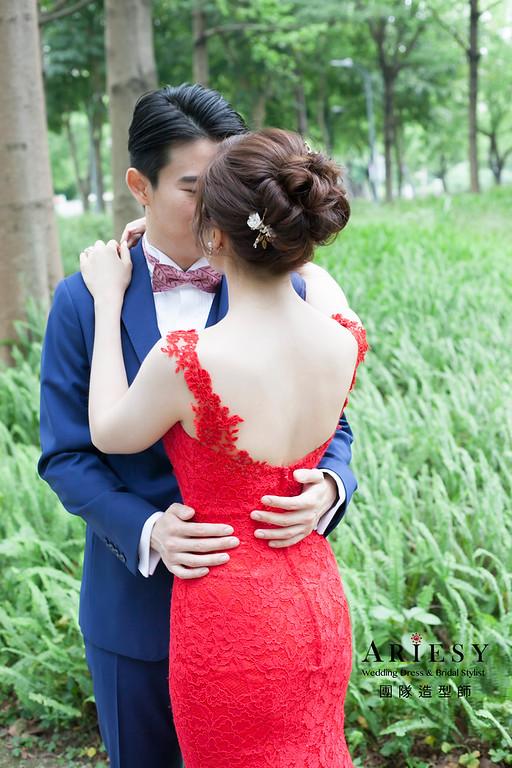 文定造型,編髮新娘造型,新娘髮型,自然妝感,紅色禮服造型,晶華酒店