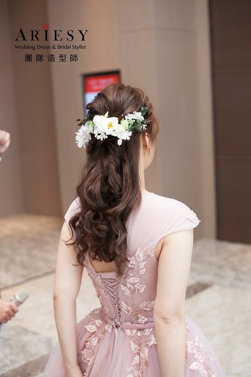 敬酒造型,蓬鬆編髮新娘造型,鮮花花藝飾品,台北新娘祕書,晚禮服造型,格萊天漾婚宴