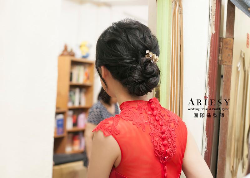 文定髮型,新娘造型,紅色禮服造型,包頭新娘造型,黑髮新娘造型