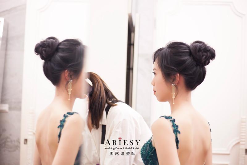 送客髮型,丸子頭髮型,輕透新娘妝感,,新娘造型,蓬鬆線條編髮,黑髮新娘造型