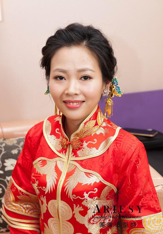 新娘秘書,送客造型,蓬鬆編髮造型,秀禾服造型,新娘髮型