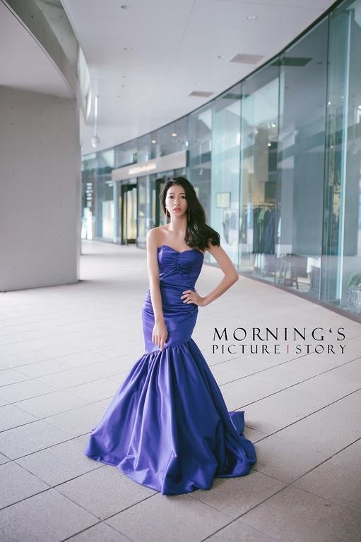 禮服出租,婚紗禮服工作室,新莊自助婚紗,手工婚紗,緞面寶藍色魚尾晚禮服