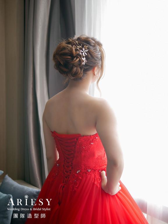 文定髮型,紅色禮服造型,台北新秘,新娘編髮,新秘推薦