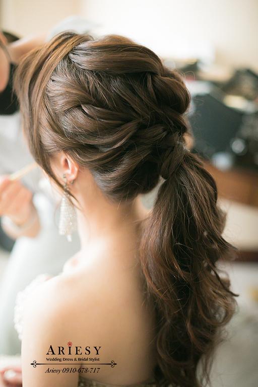ARIESY,名媛晚會禮服,金色禮服造型,馬尾造型,新娘時尚美式髮型,歐美造型