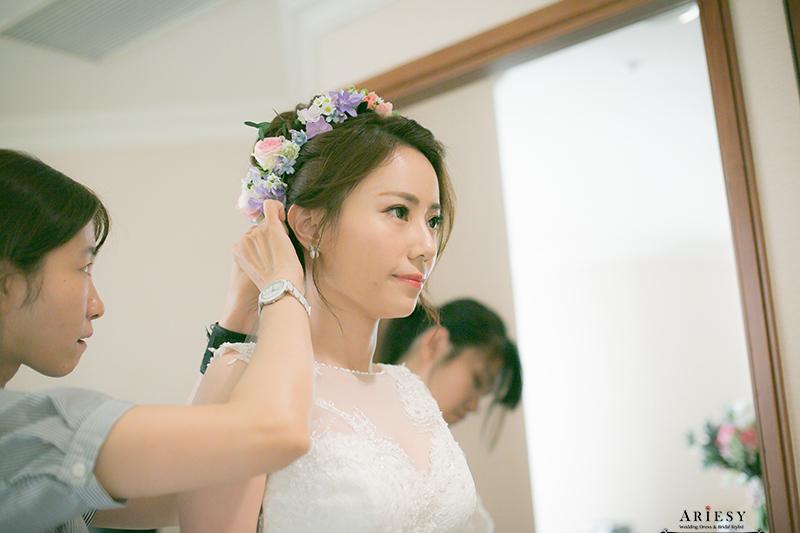 愛瑞思,ARIESY,鮮花新娘造型,鮮花新秘,北部新娘秘書,粉色藍色繽紛捧花