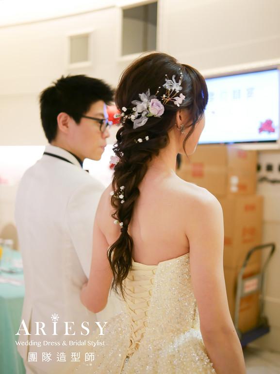 台北新秘推薦,敬酒造型,清透自然妝感,手工飾品,鮮花造型