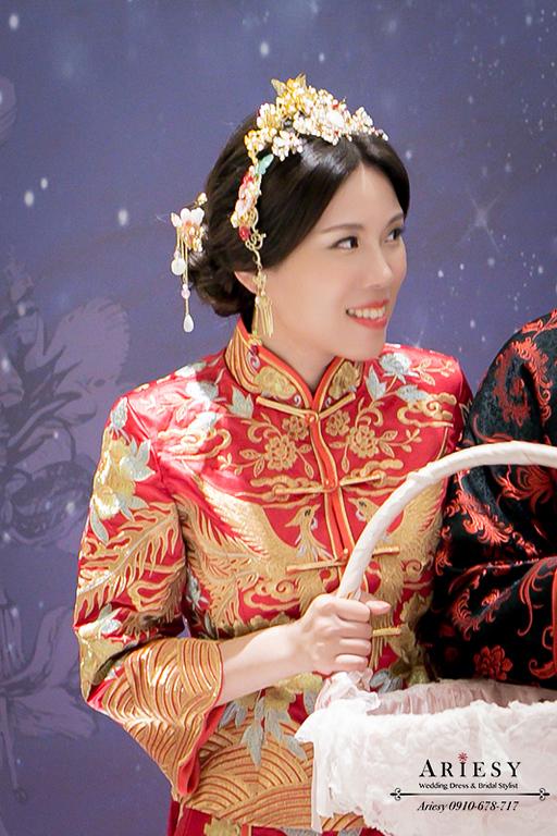 愛瑞思,ARIESY,龍鳳掛新娘秘書,秀禾服新秘,送客造型,新娘妝髮