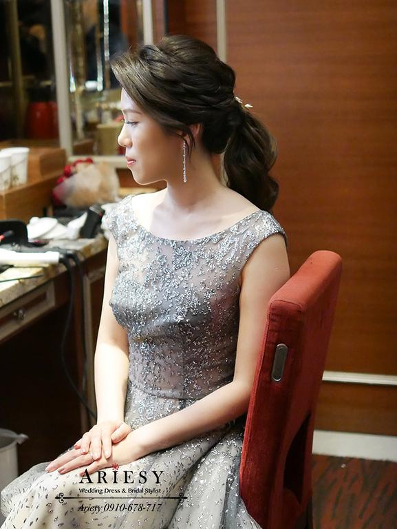 敬酒造型,馬尾髮型,新娘黑色禮服,維多麗亞婚宴,新娘髮型,台北新秘
