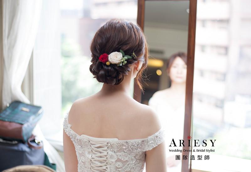 白紗造型,台北新祕,新娘秘書,新娘造型,自然清透妝感,花藝新娘飾品,鮮花新祕