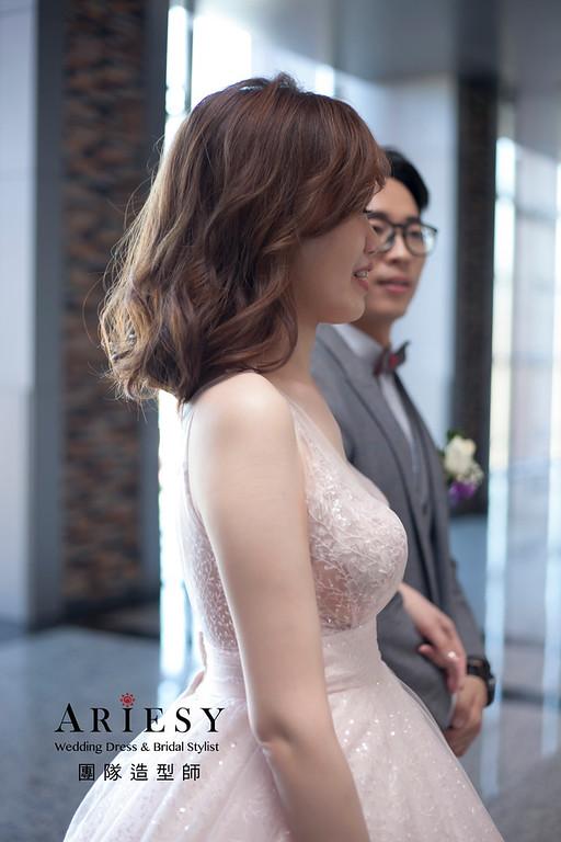 敬酒造型,編髮新娘造型,短髮新娘髮型,自然妝感,時尚甜美造型