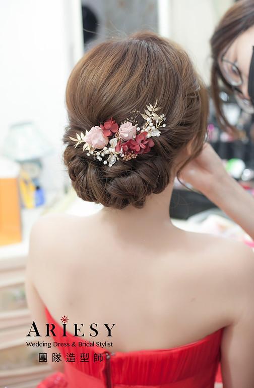 文定造型,編髮造型,台北新祕,新娘秘書,新娘造型,自然清透妝感,粗硬髮造型,花藝飾品