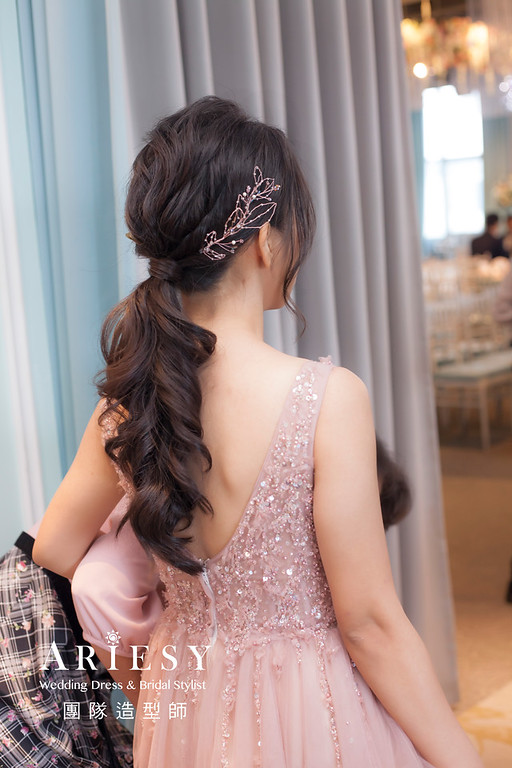 台北新祕,新娘秘書,新娘造型,蓬鬆編髮,文定造型,自然清透妝感,新娘髮型,馬尾造型,推薦新秘