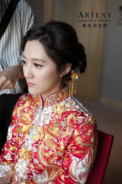龍鳳掛造型,編髮新娘造型,自然妝感,新娘造型,新娘髮型,文定造型
