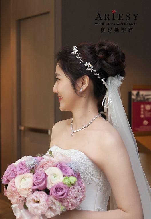 白紗進場造型,編髮新娘造型,新娘髮型,自然妝感,迎娶髮型
