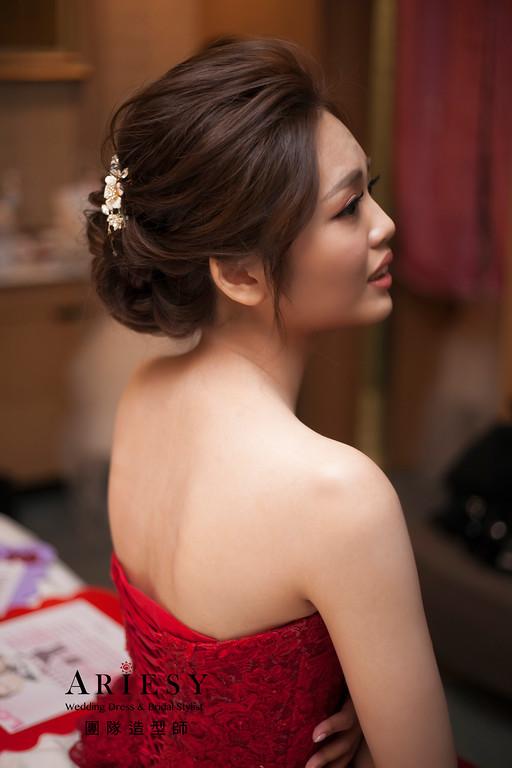 敬酒造型,編髮新娘造型,新娘包頭,自然妝感,文定造型