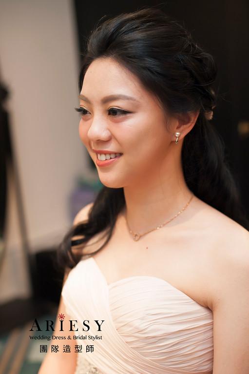 台北新祕,黑髮新娘造型,新娘髮型,女神造型,台北東方文華婚宴