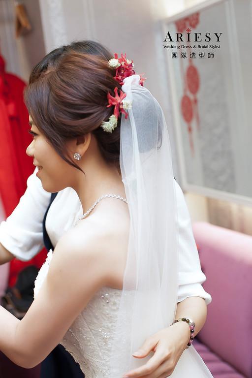 龍鳳掛造型,澳門新娘新祕,花藝飾品頭飾,自然清透妝感,新娘髮型