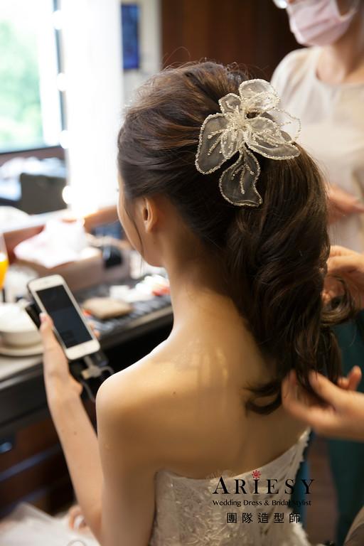 新娘造型,敬酒造型,低馬尾造型,新娘髮型,晚禮服造型