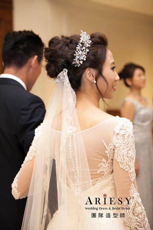 新娘造型,台北翡麗詩莊園,白紗髮型,新娘秘書,白紗進場造型