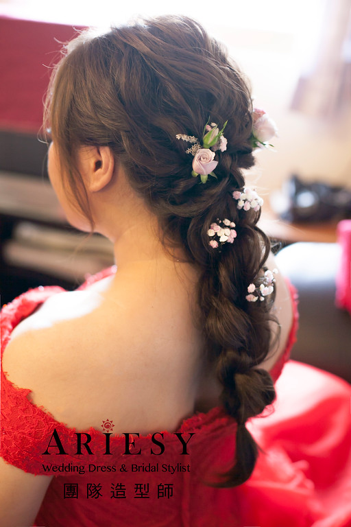 新娘秘書,文定造型,新娘髮型,長髮新娘造型, 鮮花造型