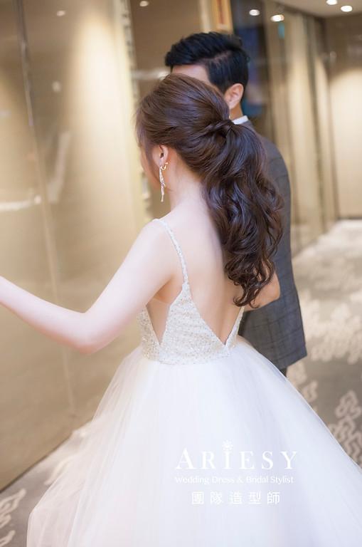 台北新祕,新娘秘書,新娘造型,編髮新祕,馬尾造型,自然清透妝感,新娘髮型,編髮造型,晚禮服造型