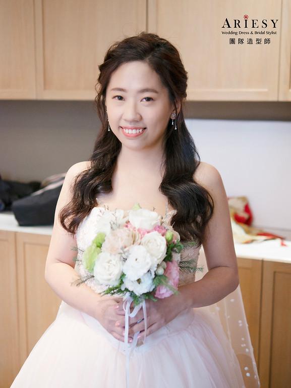 新娘秘書、單眼皮新娘、公主頭造型、自然輕透妝感、新秘