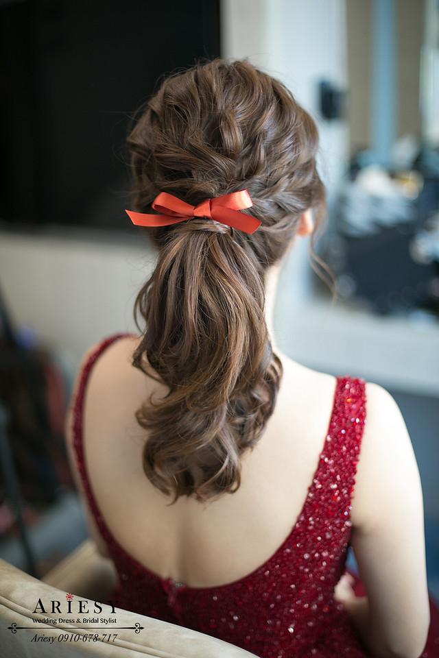 文定造型,蝴蝶結新娘造型,紅色禮服髮型,紅禮服造型,單眼皮新娘