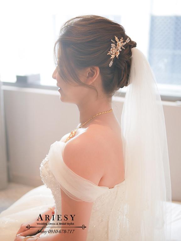 新娘黃金造型,新娘迎娶髮型,迎娶造型,新娘頭紗髮型,白紗造型,四大新秘,愛瑞思