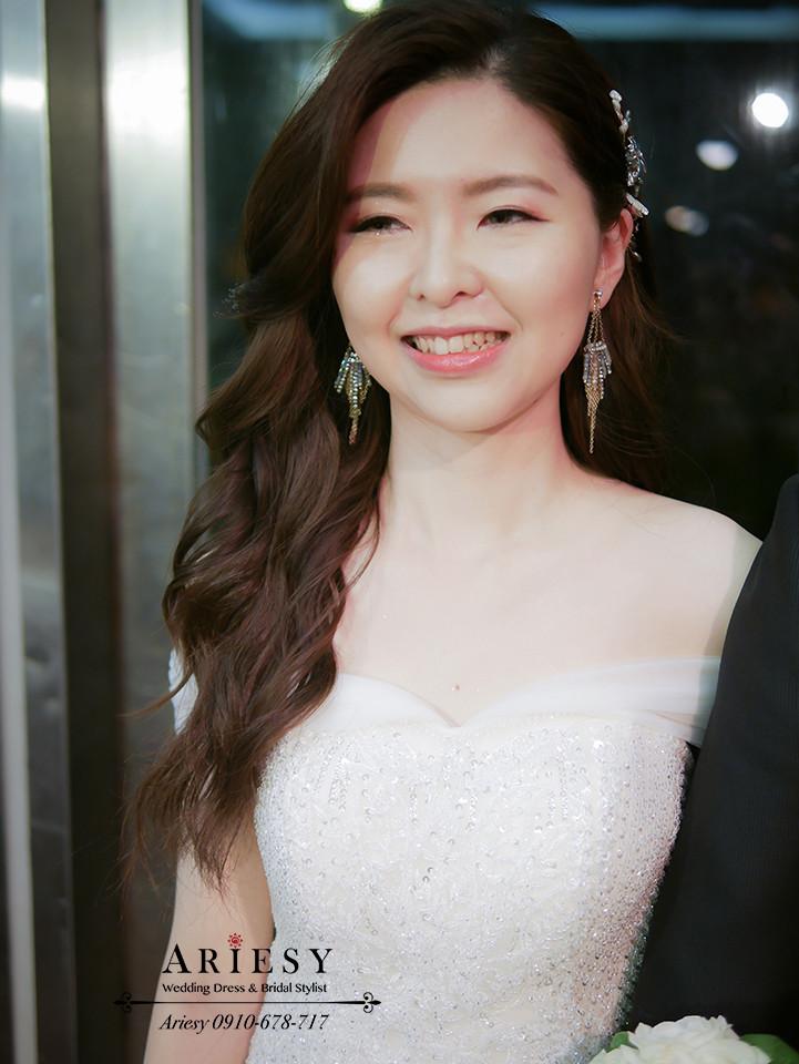 白紗造型,浪漫捲髮,新娘髮型,新娘造型,單眼皮新娘