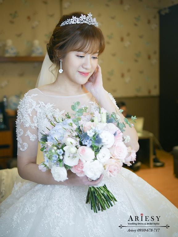 愛瑞思,新娘秘書,台北新秘,ariesy新秘,白紗造型,公主皇冠造型