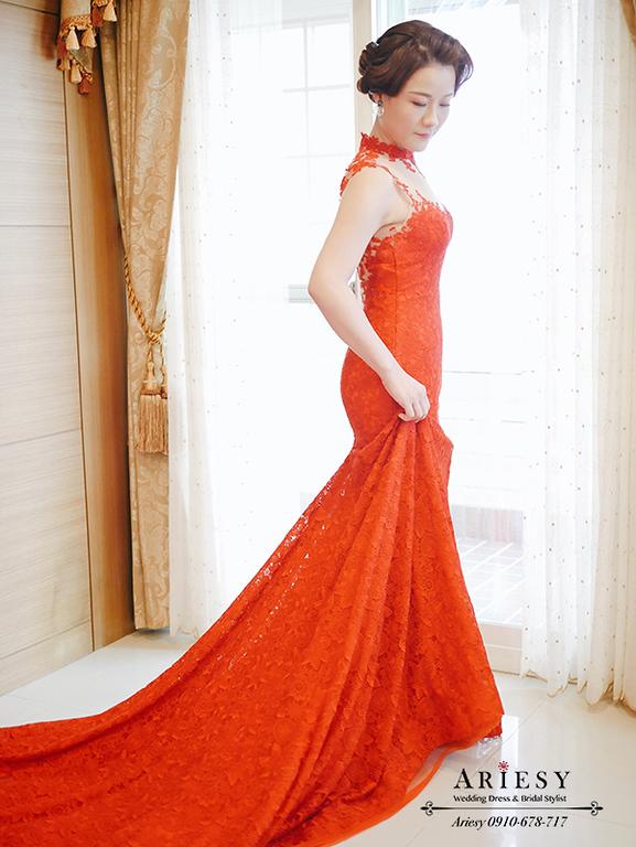 指推復古髮型,新娘秘書,愛瑞思,ARIESY,台北新秘,紅旗袍文定造型
