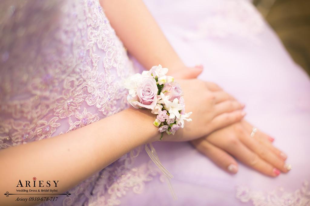 紫色禮服造型,低馬尾造型,新娘髮型,台北新秘