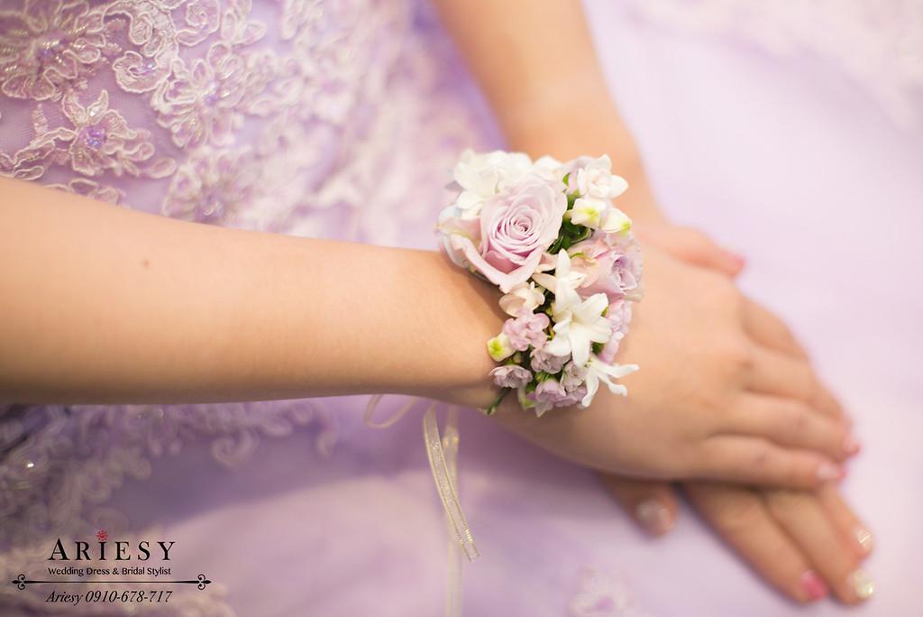 紫色禮服造型,手腕花,新娘造型,新娘鮮花,台北新秘