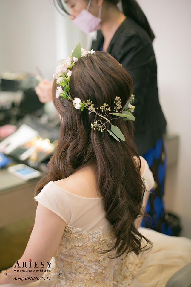 花圈新秘,鮮花新秘,新秘推薦,新娘髮型,鮮花編髮