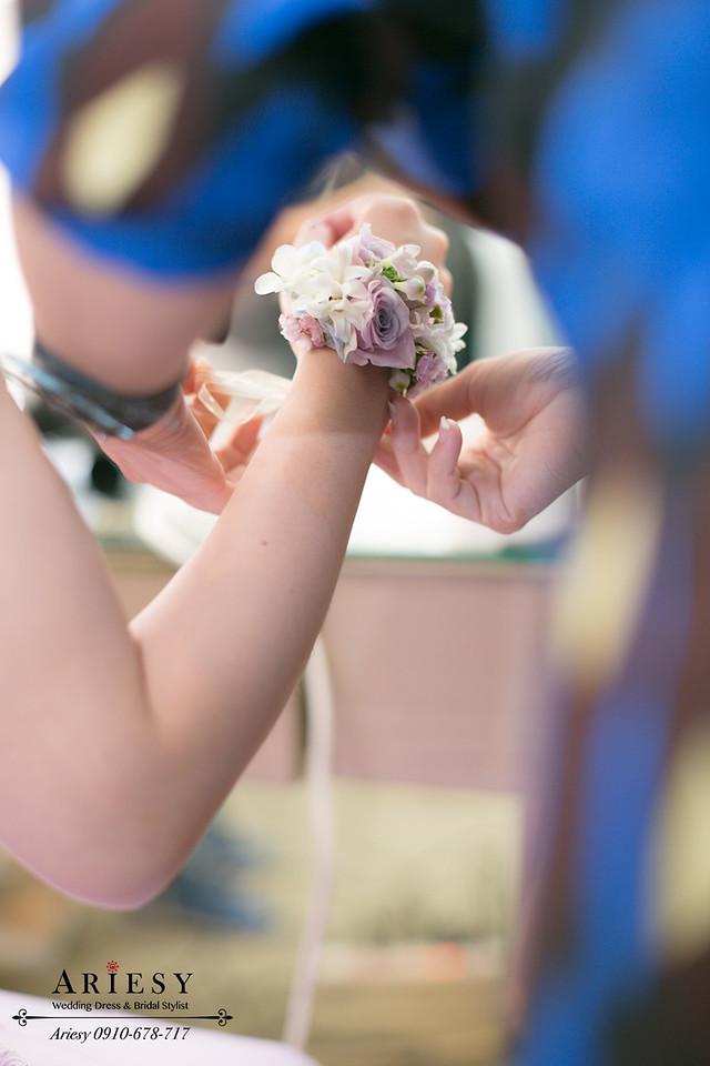 紫色禮服造型,手腕花,新娘造型,新娘花,台北新秘