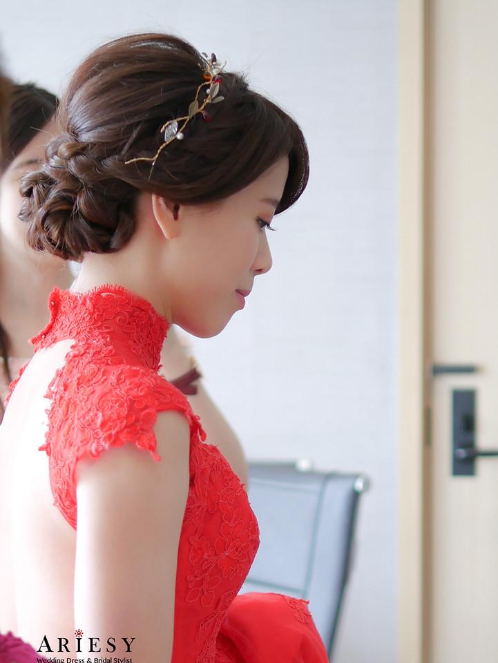 紅色禮服,文定造型,旗袍髮型,新娘秘書,台北新秘
