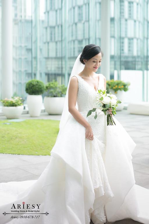 新娘盤髮,歐美新娘造型,白紗髮型,黑髮新娘,自然新娘妝感,ARIESY